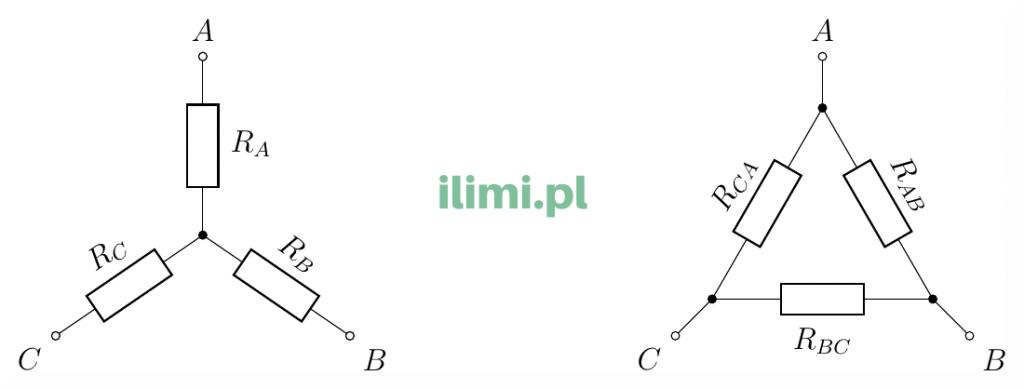 Od lewej: Połączenie trójnika w gwiazdę i połączenie trójnika w trójkąt.