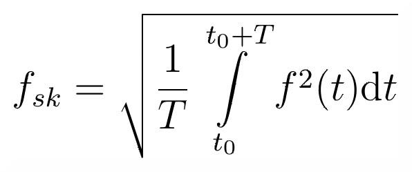 Wzór na wartość skuteczną przebiegu okresowego.
